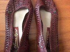 Etienne Aigner women's leather shoes Slip On Slides 6M burgundy lattice design