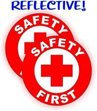 (2) REFLECTIVE Safety First Hard Hat Decals | Construction Helmet Stickers Label