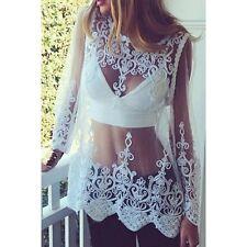 White Venetian Lace All Womens Top shirt XS-S