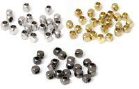 Lot 50 Perle Cube 2,5mm Metal perle intercalaire Couleur au Choix
