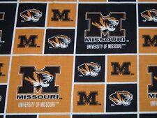 Vtg University of Missouri Squares Logos Mascot Cotton Quilt Fabric 36x43 #me165