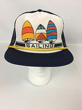 Vintage CAPTAIN'S SAILING BOATING BEACH Trucker Mesh Foam SnapBack Hat USA Made