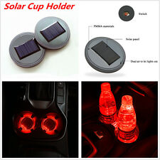 2x Universal Solar Cup Holder Bottom Pad LED Light Cover For Auto Car SUV Truck