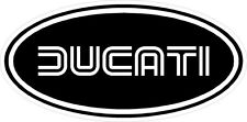 "#k107(2) 3"" Ducati Oval Racing Classic Vintage Decal Sticker LAMINATED Black"