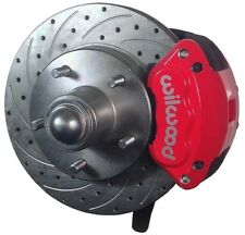 "SWS DISC BRAKE KIT,FRONT,79-87,2"" DROP SPINDLES,DRILLED ROTORS,RED WILWOOD CALIP"