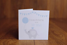 Personalised Handmade Blue Baby Boy shower Card Mum to Be