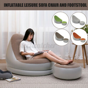 Inflatable Lazy Lounge Chair Set Sofa Couch Footrest Home Bedroom Indoor