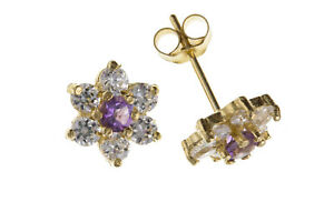 Amethyst Earrings Yellow Gold Stud Cluster Solid 9 Carat Studs Real Stone
