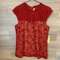 Perseption Concept Blouse Top Red Crochet Lace Women's Sz L