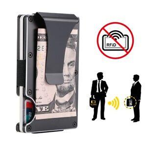 RFID Blocking Carbon Fiber Minimalist Ridge Money Clip Front Pocket Wallet