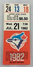 MLB 1982 07/21 Kansas City Royals at Toronto Blue Jays Ticket Stub-Vida Blue WP