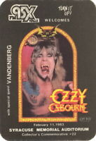 OZZY OSBOURNE 1983 SPEAK OF THE DEVIL SYRACUSE BACKSTAGE RADIO PASS / NMT 2 MNT