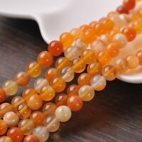 30pcs 8mm Round Natural Stone Loose Gemstone Beads Orange S Agate