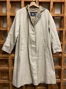 LADIES DESIGNER BURBERRY HOODED TRENCH COAT SIZE 12 LONG #C82D E.38264/2