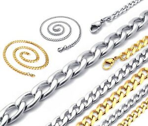 """Silver Gold Curb Link Chain Necklace 4-8mm 18-30"""" Mens Womens Children Unisex"""