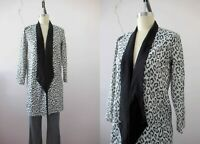 80s Black Silver Lurex Cheetah Print Animal Print Tuxedo Jacket Small Medium