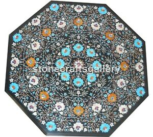 """24"""" Black Marble Coffee Table Top Turquoise Carnelian Inlay Floral Art Deco B013"""