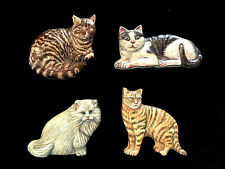 """Kitty Cat Refrigerator Magnets Detailed Ceramic 3 x 2"""" Set of 4"""