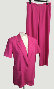 VTG 80s Sag Harbor 8P Pink Two Piece Pant Suit Outfit Pockets High Waist