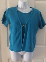 Women's Knit Sweater top Blouse Shirt Size Small Blue Short Sleeves