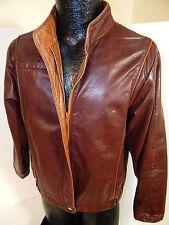 Vtg Garfin Brown GOAT Skin CAFE RACER Jacket MOTORCYCLE Biker Leather Coat 40