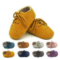 Toddler Girl Boy Lace-up Crib Shoes Newborn Baby Prewalker Soft Sole Sneakers WL