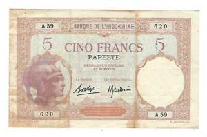 Tahiti - 5 Francs   1927