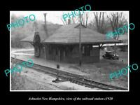 OLD LARGE HISTORIC PHOTO OF ASHUELOT NEW HAMPSHIRE RAILROAD STATION c1920