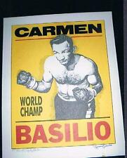 Numbered and signed World Champion Carmen Basilio boxing poster artist nearmint