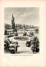 Stampa antica CASSANO D'ADDA giardino Villa Brambilla Grossi 1933 Old print