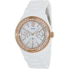 NEW GUESS FEMININE CANDY ROSE GOLD WHITE BRACELET SWAROVSKI LADY WATCH U0062L6