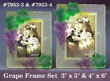 New 3D Purple & Green Grape Picture Frame Set 2 Photo Frames Grapes