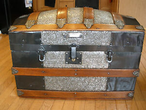 Late 1800s HUMPBACK DOME STEAMER TRUNK - Floral Tin Pattern