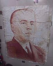 OLD ENVER HOXHA PORTRAIT IN CLOTH-ALBANIA PROPAGANDA-COMUNISM BANNER 150x120 cm