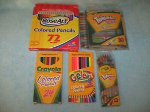 Lot of 5 ART SUPPLIES 72 ROSE ART Colored Pencils; 30 & 12 TWISTABLES; CRAYOLA &