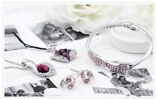 Platinum Plated Made WitSWAROVSKI Purple Crystal Set(Necklace,Earrings,Bracelet)