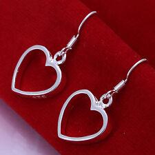 Promotion Price 925Sterling Silver Hollow Flat Heart Women Earrings Dangle E047