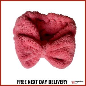 Big Bow Soft Spa Facial Makeup Hair Band Wrap Elastic Towel Headband Colour Rose