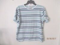 vintage woman's Westport Ltd; navy/green/white short sleeve tee shirt