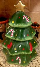 Christmas TREE Cookie Jar Peppermint Candy Theme Kitchen Holiday Gift