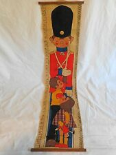 """KIDS GROWTH CHART Printed Burlap Toy Soldier 39"""" Inches Centimeters Vintage"""