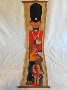"KIDS GROWTH CHART Printed Burlap Toy Soldier 39"" Inches Centimeters Vintage"