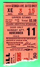 SUPER VINTAGE! 11/11/45 WASH REDSKINS/BOS YANKS FOOTBALL TICKET STUB-GRIFFITH