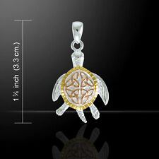 Celtic Triquetra Sea Turtle Three Tone Sterling Silver Pendant Peter Stone