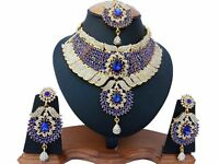 Gold Plated Bridal Kundan Zerconic Bollywood Ethnic Necklace Jewelry Set ES7