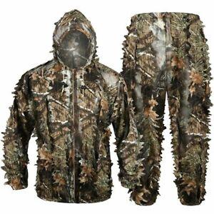 Bionic Ghillie Suit 3D Maple Leaf Winter Clothes Hunting Jacket Pants Waterproof
