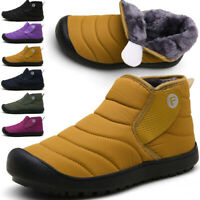 MENS GENTS WOMENS SLIPPERS SLIP ON ANKLE WARM FUR LINED WINTER SNOW BOOTS SHOES