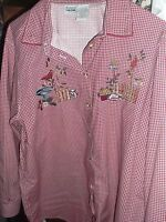Capacity Burgundy checked shirt birds birdhouses pretty ~ Embroidered Blouse 1x