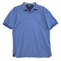 Tommy Hilfiger Polo Shirt Mens Size L Large Blue Diagonal Striped Short Sleeve