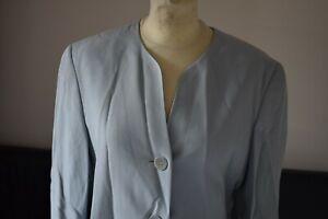 Bogner Jacke Blazer Damen lang hellblau Retro Vintage Gr. 38 50% Seide 50% Visko